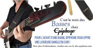Bon plan avec la marque de guitare basse Epiphone, recevez une luxueuse sangle en cuir pour l'achat d'une basse de marque Epiphone