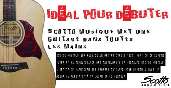 Scotto Musique propose ses propres guitare, idéale pour les débutants à prix cassés, sans faire l'impasse de la qualité. Retrouvez les guitares scotto musique sur notre site de vente en ligne d'instruments de musique