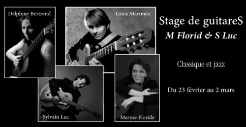 Just Looking Productions est heureux de vous annoncer: le Stage de GuitareS M.FLORID & S.LUC qui se déroulera du 23 Février au 2 Mars 2013 au Domaine de Petite, à Grans.
